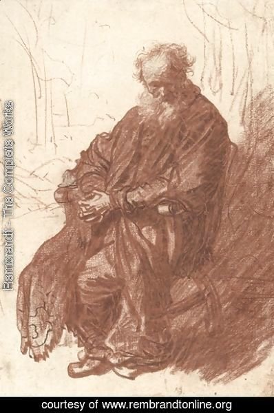 Rembrandt - Old Man Seated in an Armchair, Full length