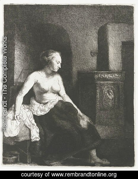 Rembrandt - Woman Sitting Half Dressed Beside a Stove