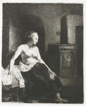 Woman Sitting Half Dressed Beside a Stove