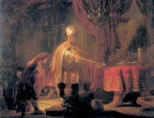 Rembrandt - Daniel and King Cyrus in front of the Idol of Bel