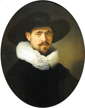 Rembrandt - Portrait of a Bearded Man in a Wide Brimmed Hat