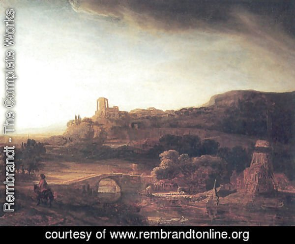 Rembrandt - River Landscape with a Windmill