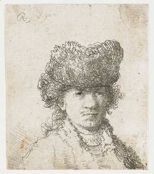 Rembrandt - Self-portrait in a fur cap bust