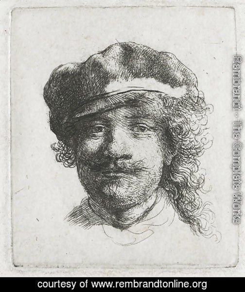 Rembrandt - Self-portrait wearing a soft cap full face, head only