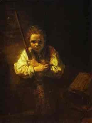 Rembrandt - A Girl with a Broom