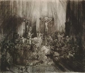 Rembrandt - Christ crucified between the two thieves (Three crosses)