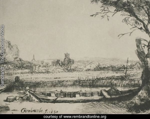 Landscape with a Canal and Large Boat