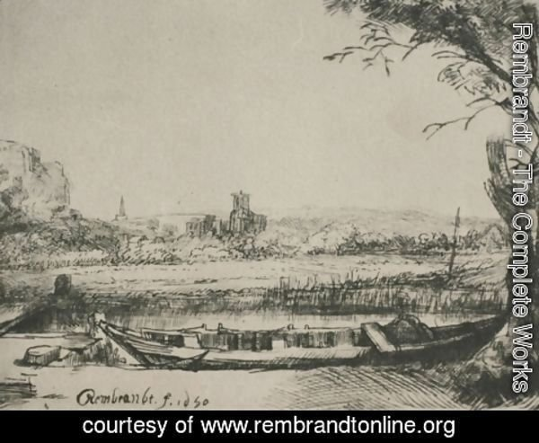 Rembrandt - Landscape with a Canal and Large Boat