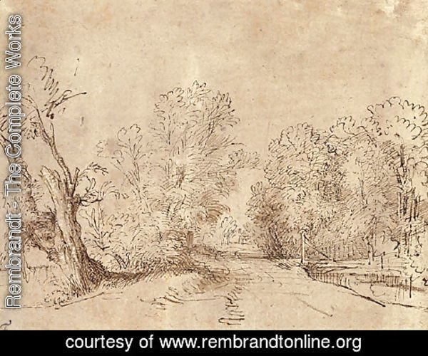 Rembrandt - A Wooded Road