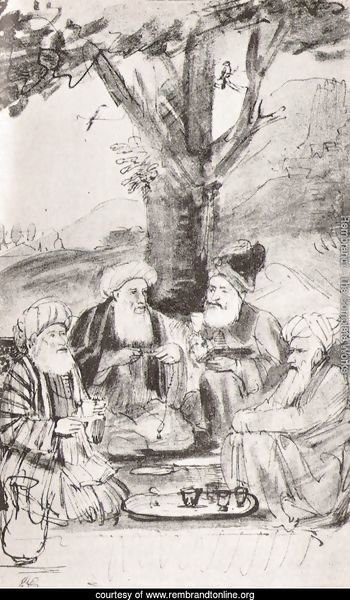 Four Orientals seated under a tree. Ink on paper