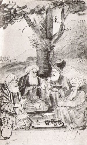 Rembrandt - Four Orientals seated under a tree. Ink on paper