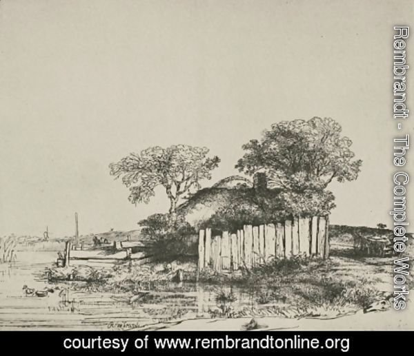 Rembrandt - A Cottage with White Pales