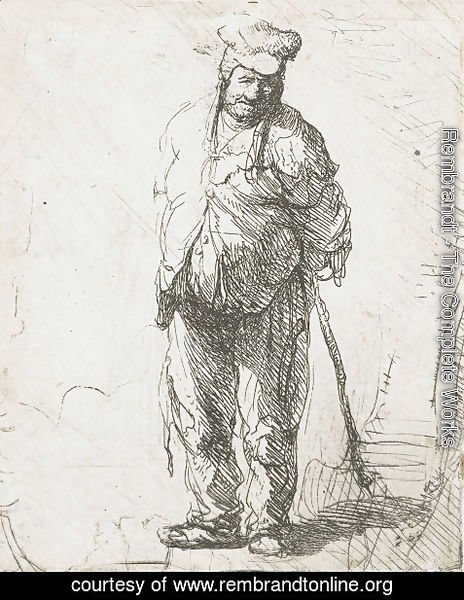 Rembrandt - Ragged peasant with his hands behind him, holding a stick