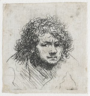Rembrandt - Self-portrait leaning forward bust