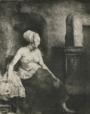 Rembrandt - A Woman Seated Before a Dutch Stove