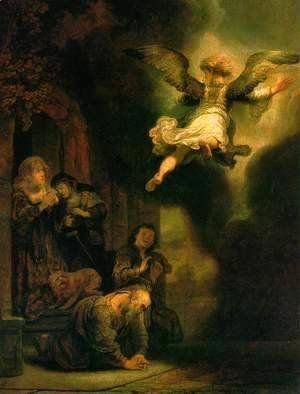 Rembrandt - The Archangel Leaving the Family of Tobias 1637