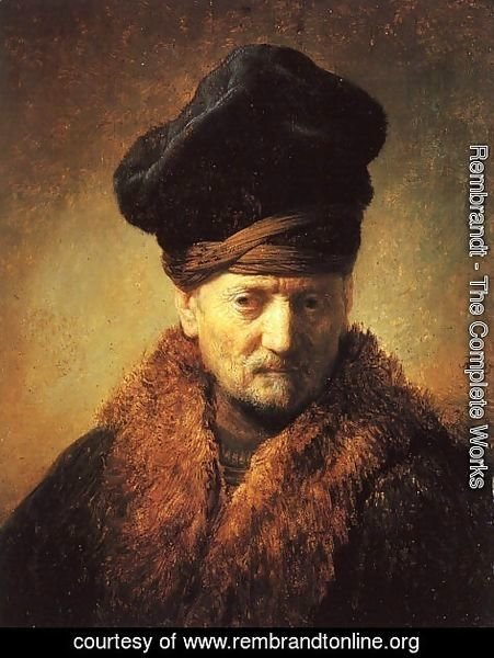 Rembrandt - Bust of an Old Man in a Fur Cap 1630