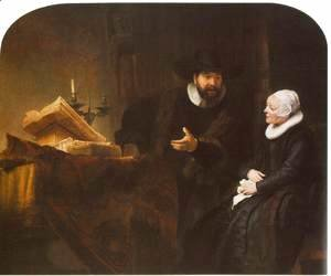 Rembrandt - The Mennonite Minister Cornelis Claesz. Anslo in Conversation with his Wife, Aaltje 1641