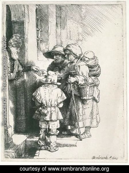 Rembrandt - Beggars Receiving Alms at the Door of a House 1648