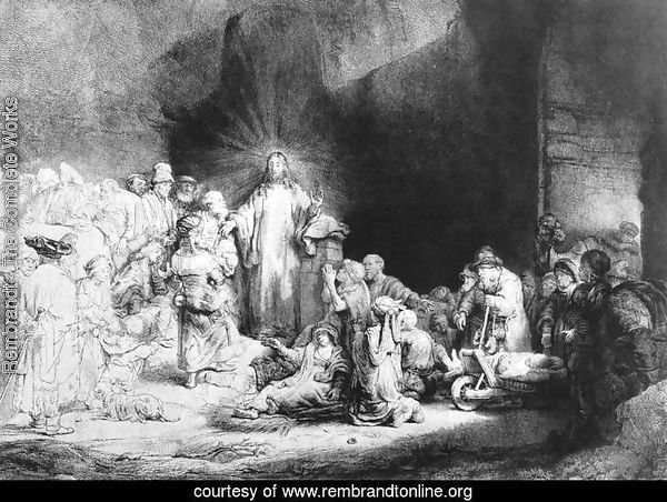 The Little Children Being Brought to Jesus, The 100 Guilder Print 1647-49