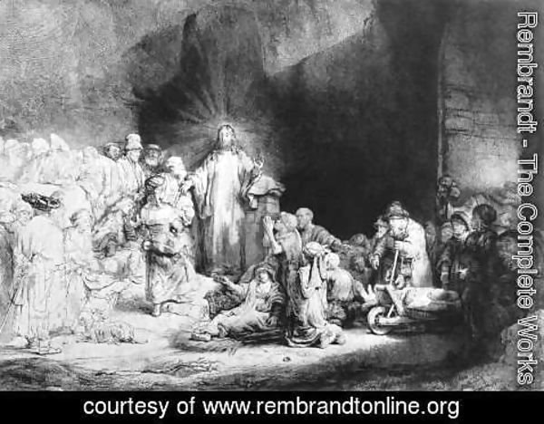 Rembrandt - The Little Children Being Brought to Jesus, The 100 Guilder Print 1647-49