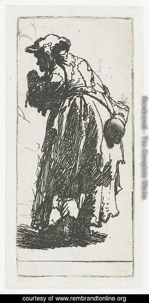 Rembrandt - Old Beggar Woman With A Gourd 1630