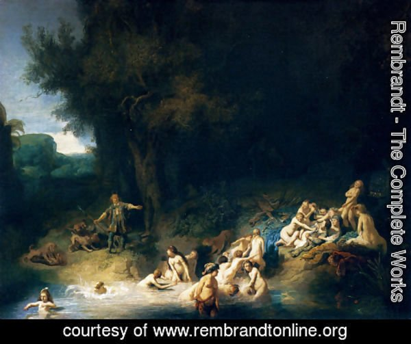 Rembrandt - Diana and her Nymphs Bathing, with Actaeon and Callisto